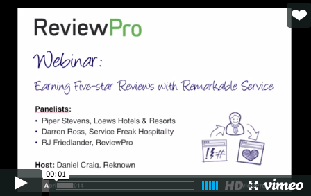 Earning Five-star Reviews with Remarkable Service Webinar - ReviewPro and Reknown